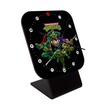 Ninja turtles, Επιτραπέζιο ρολόι ξύλινο με δείκτες (10cm)