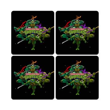 Ninja turtles, ΣΕΤ 4 Σουβέρ ξύλινα τετράγωνα