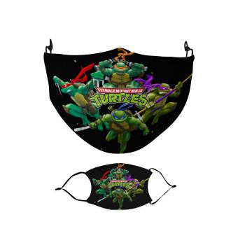 Ninja turtles, Μάσκα υφασμάτινη Ενηλίκων πολλαπλών στρώσεων με υποδοχή φίλτρου