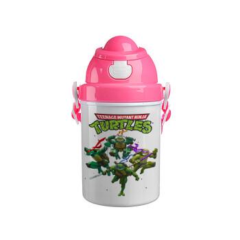 Ninja turtles, Ροζ παιδικό παγούρι πλαστικό (BPA-FREE) με καπάκι ασφαλείας, κορδόνι και καλαμάκι, 400ml