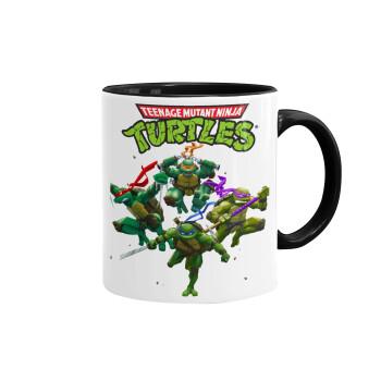 Ninja turtles, Κούπα χρωματιστή μαύρη, κεραμική, 330ml