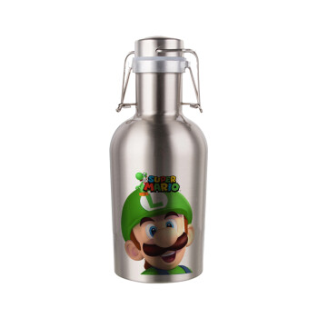 Super mario Luigi, Μεταλλικό παγούρι Inox (Stainless steel) με καπάκι ασφαλείας 1L