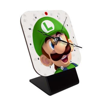 Super mario Luigi, Επιτραπέζιο ρολόι ξύλινο με δείκτες (10cm)