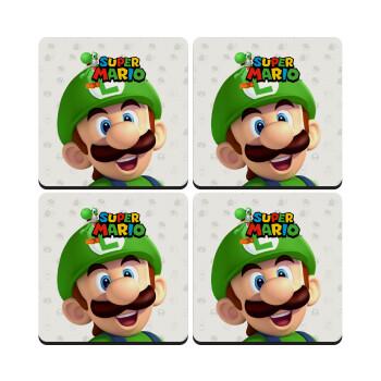 Super mario Luigi, ΣΕΤ 4 Σουβέρ ξύλινα τετράγωνα