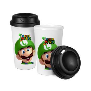 Super mario Luigi, Κούπα ταξιδιού πλαστικό (BPA-FREE) με καπάκι βιδωτό, διπλού τοιχώματος (θερμό) 330ml (1 τεμάχιο)
