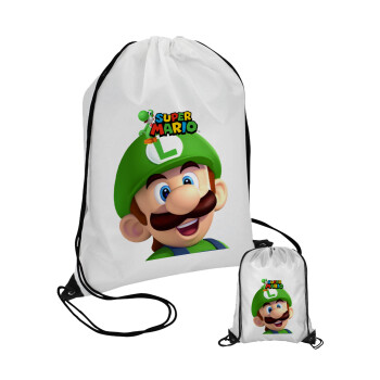 Super mario Luigi, Τσάντα πουγκί με μαύρα κορδόνια 45χ35cm (1 τεμάχιο)