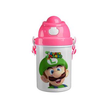 Super mario Luigi, Ροζ παιδικό παγούρι πλαστικό (BPA-FREE) με καπάκι ασφαλείας, κορδόνι και καλαμάκι, 400ml