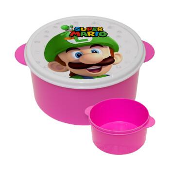 Super mario Luigi, ΡΟΖ παιδικό δοχείο φαγητού πλαστικό (BPA-FREE) Lunch Βox M16 x Π16 x Υ8cm