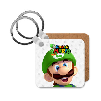 Super mario Luigi, Μπρελόκ Ξύλινο τετράγωνο MDF 5cm (3mm πάχος)