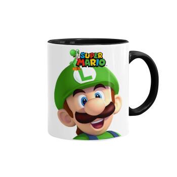 Super mario Luigi, Κούπα χρωματιστή μαύρη, κεραμική, 330ml