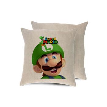 Super mario Luigi, Μαξιλάρι καναπέ ΛΙΝΟ 40x40cm περιέχεται το γέμισμα