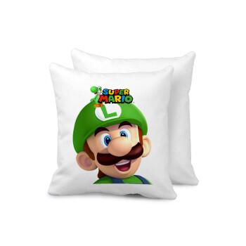 Super mario Luigi, Μαξιλάρι καναπέ 40x40cm περιέχεται το γέμισμα