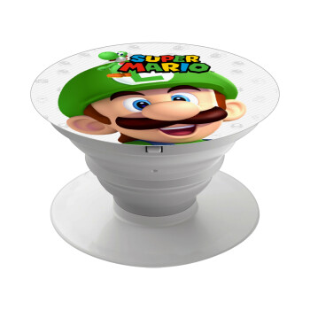 Super mario Luigi, Pop Socket Λευκό Βάση Στήριξης Κινητού στο Χέρι