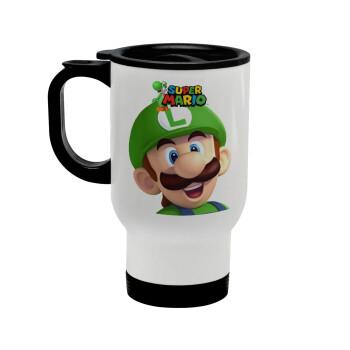 Super mario Luigi, Κούπα ταξιδιού ανοξείδωτη με καπάκι, διπλού τοιχώματος (θερμό) λευκή 450ml