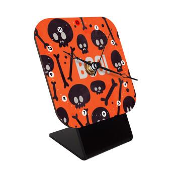 Halloween boo, Επιτραπέζιο ρολόι ξύλινο με δείκτες (10cm)