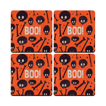 Halloween boo, ΣΕΤ 4 Σουβέρ ξύλινα τετράγωνα