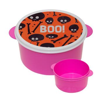 Halloween boo, ΡΟΖ παιδικό δοχείο φαγητού πλαστικό (BPA-FREE) Lunch Βox M16 x Π16 x Υ8cm