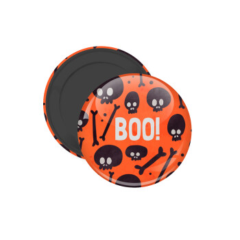 Halloween boo, Μαγνητάκι ψυγείου στρογγυλό διάστασης 5cm