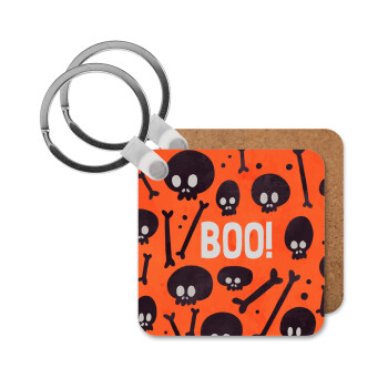 Halloween boo, Μπρελόκ Ξύλινο τετράγωνο MDF 5cm (3mm πάχος)