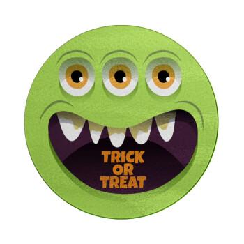 Halloween trick or treat 3 eyes monster, Επιφάνεια κοπής γυάλινη στρογγυλή (30cm)