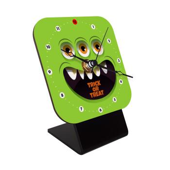 Halloween trick or treat 3 eyes monster, Επιτραπέζιο ρολόι ξύλινο με δείκτες (10cm)
