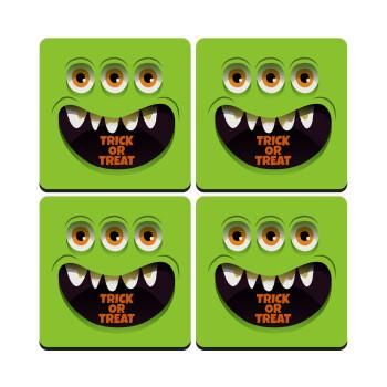 Halloween trick or treat 3 eyes monster, ΣΕΤ 4 Σουβέρ ξύλινα τετράγωνα