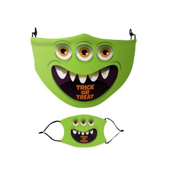 Halloween trick or treat 3 eyes monster, Μάσκα υφασμάτινη Ενηλίκων πολλαπλών στρώσεων με υποδοχή φίλτρου