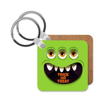 Halloween trick or treat 3 eyes monster, Μπρελόκ Ξύλινο τετράγωνο MDF 5cm (3mm πάχος)