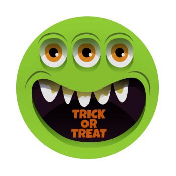Halloween trick or treat 3 eyes monster, Mousepad Στρογγυλό 20cm