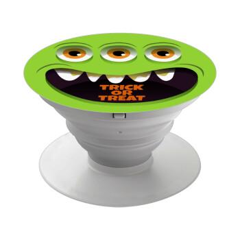 Halloween trick or treat 3 eyes monster, Pop Socket Λευκό Βάση Στήριξης Κινητού στο Χέρι