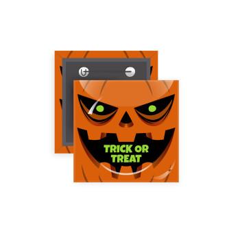 Halloween trick or treat Pumpkins, Κονκάρδα παραμάνα τετράγωνη 5x5cm