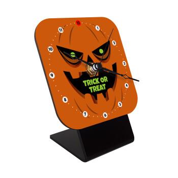 Halloween trick or treat Pumpkins, Επιτραπέζιο ρολόι ξύλινο με δείκτες (10cm)