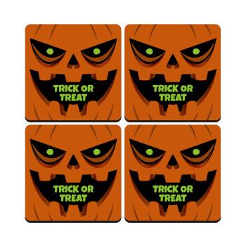 Halloween trick or treat Pumpkins, ΣΕΤ 4 Σουβέρ ξύλινα τετράγωνα