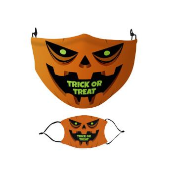 Halloween trick or treat Pumpkins, Μάσκα υφασμάτινη Ενηλίκων πολλαπλών στρώσεων με υποδοχή φίλτρου