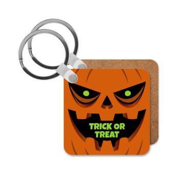 Halloween trick or treat Pumpkins, Μπρελόκ Ξύλινο τετράγωνο MDF 5cm (3mm πάχος)