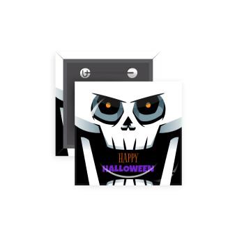 Halloween trick or treat Skeleton, Κονκάρδα παραμάνα τετράγωνη 5x5cm