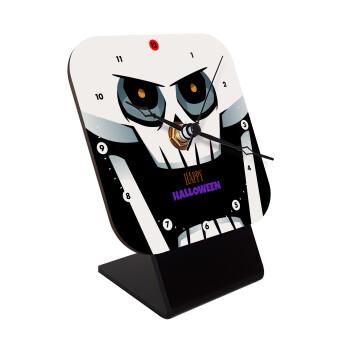 Halloween trick or treat Skeleton, Επιτραπέζιο ρολόι ξύλινο με δείκτες (10cm)
