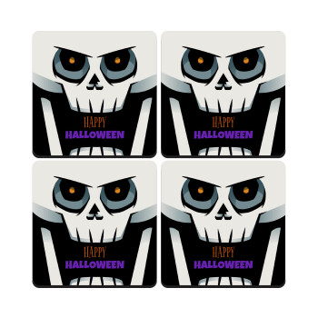 Halloween trick or treat Skeleton, ΣΕΤ 4 Σουβέρ ξύλινα τετράγωνα