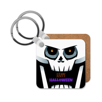Halloween trick or treat Skeleton, Μπρελόκ Ξύλινο τετράγωνο MDF 5cm (3mm πάχος)
