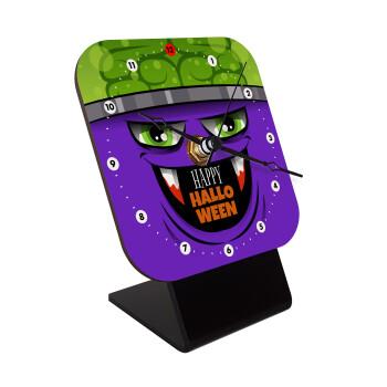 Halloween trick or treat Monster, Επιτραπέζιο ρολόι ξύλινο με δείκτες (10cm)