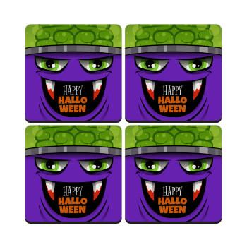 Halloween trick or treat Monster, ΣΕΤ 4 Σουβέρ ξύλινα τετράγωνα