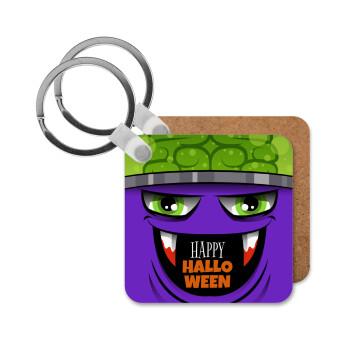 Halloween trick or treat Monster, Μπρελόκ Ξύλινο τετράγωνο MDF 5cm (3mm πάχος)