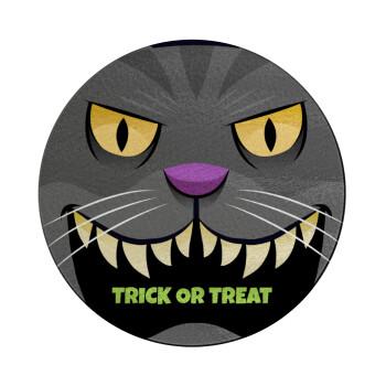 Halloween trick or treat Cat, Επιφάνεια κοπής γυάλινη στρογγυλή (30cm)