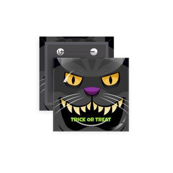 Halloween trick or treat Cat, Κονκάρδα παραμάνα τετράγωνη 5x5cm