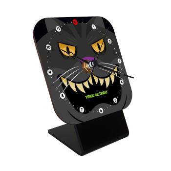 Halloween trick or treat Cat, Επιτραπέζιο ρολόι ξύλινο με δείκτες (10cm)