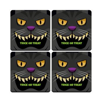 Halloween trick or treat Cat, ΣΕΤ 4 Σουβέρ ξύλινα τετράγωνα