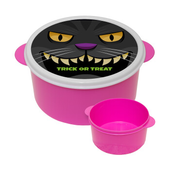 Halloween trick or treat Cat, ΡΟΖ παιδικό δοχείο φαγητού πλαστικό (BPA-FREE) Lunch Βox M16 x Π16 x Υ8cm