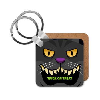 Halloween trick or treat Cat, Μπρελόκ Ξύλινο τετράγωνο MDF 5cm (3mm πάχος)