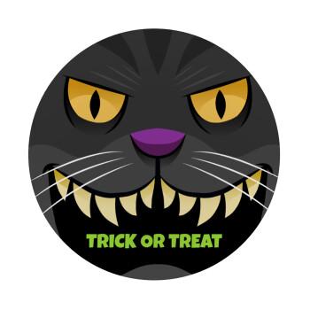 Halloween trick or treat Cat, Mousepad Στρογγυλό 20cm