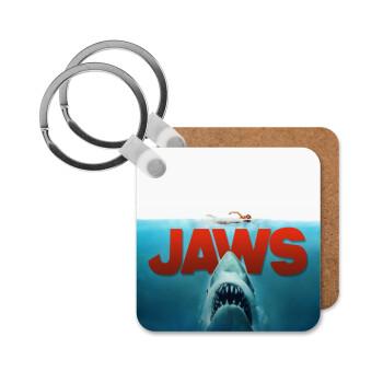 Shark jaws, Μπρελόκ Ξύλινο τετράγωνο MDF 5cm (3mm πάχος)